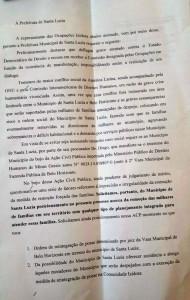 Documento protocolizado pelos líderes damanifestação