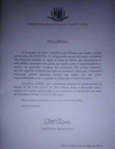 Nota emitida pela Prefeitura de Santa Luzia