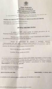 Pedido de prisão de Cunha